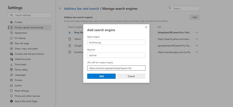 Aggiunta di una nuova opzione di motore di ricerca alla barra degli indirizzi in Edge.