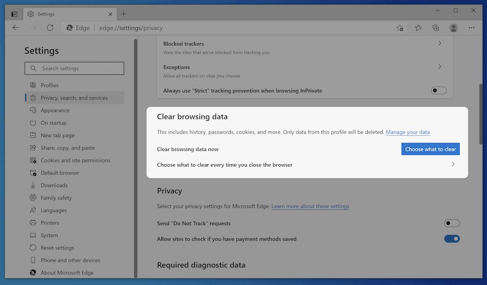 Opciones de caché de Microsoft Edge.