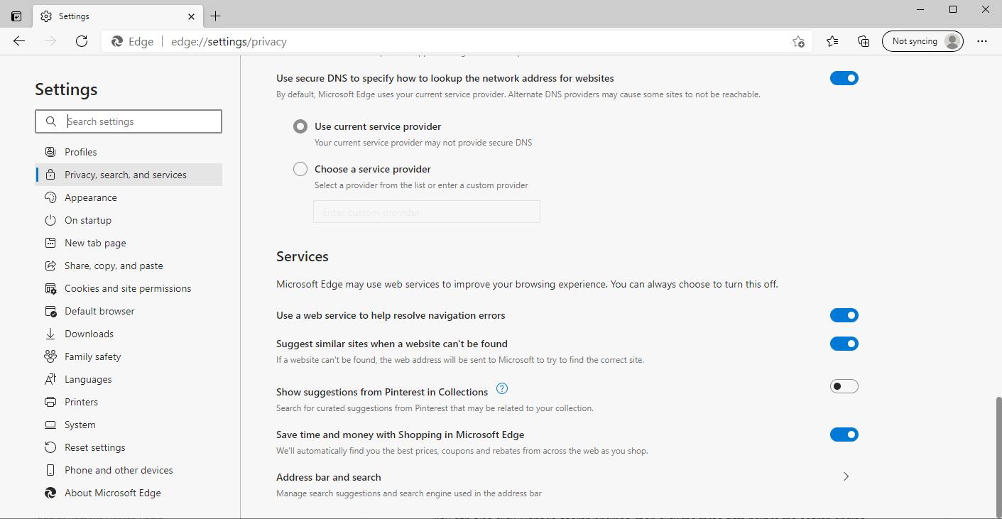 Accesso al menu predefinito della ricerca e della barra degli indirizzi in Edge.