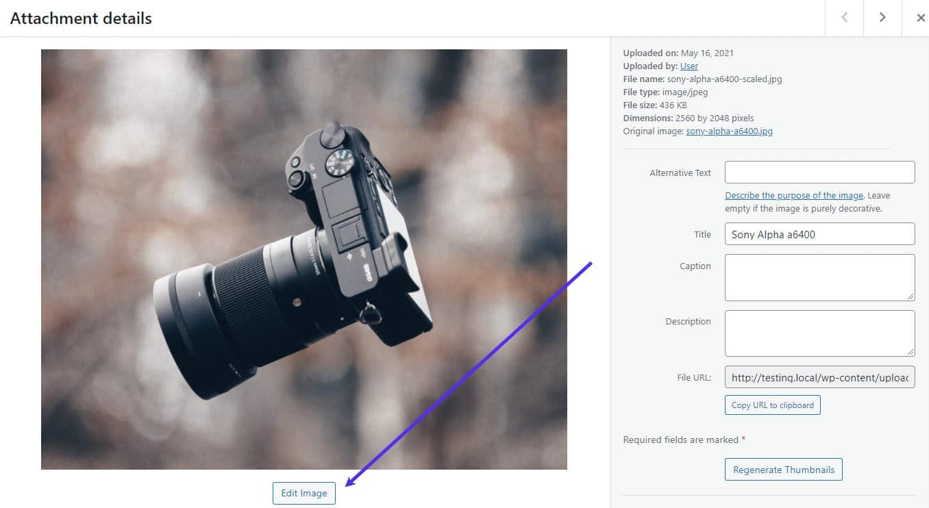 O botão Editar imagem.
