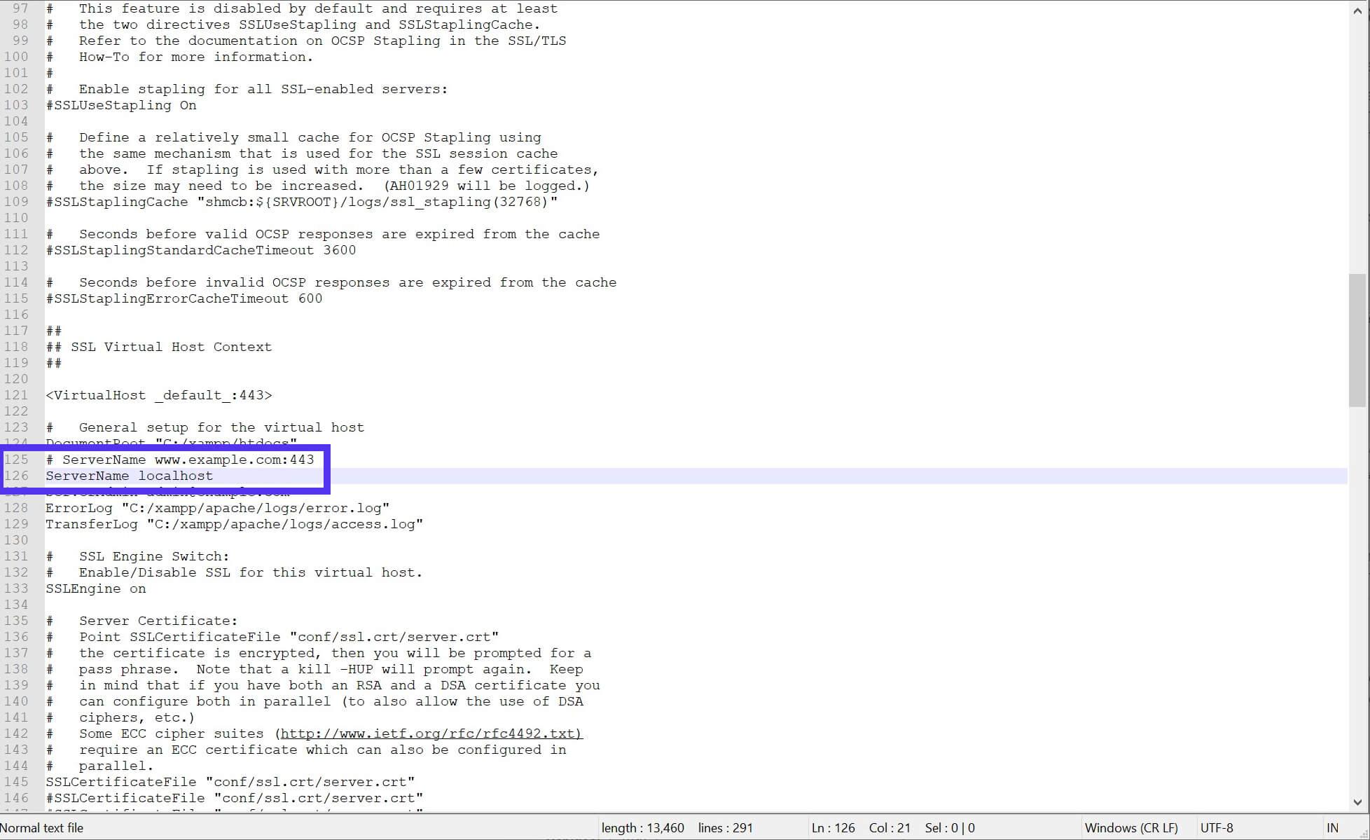 O arquivo httpd-ssl.conf editado.