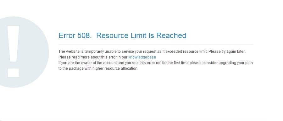 """TheDe foutmelding """"508 Resource Limit is Reached"""" in de browser"""