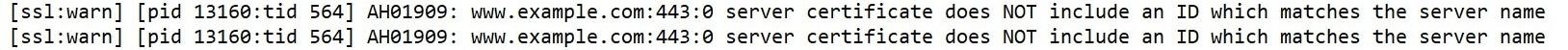 """O """"Certificado de servidor NÃO inclui uma identificação que corresponda ao nome do servidor"""" mensagem."""