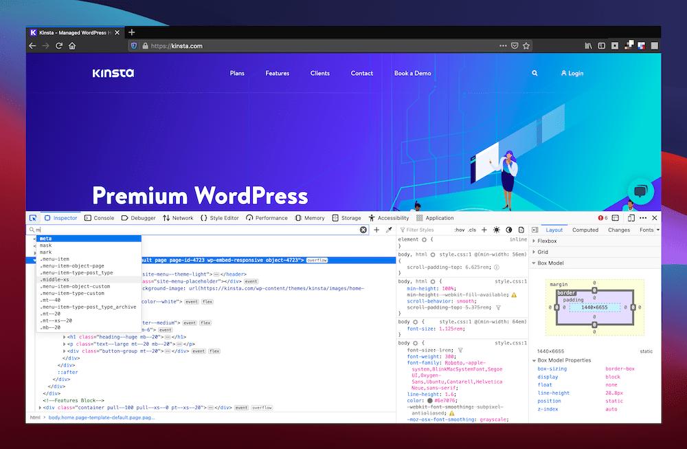 Suche nach Elementen im Firefox Inspector Panel.