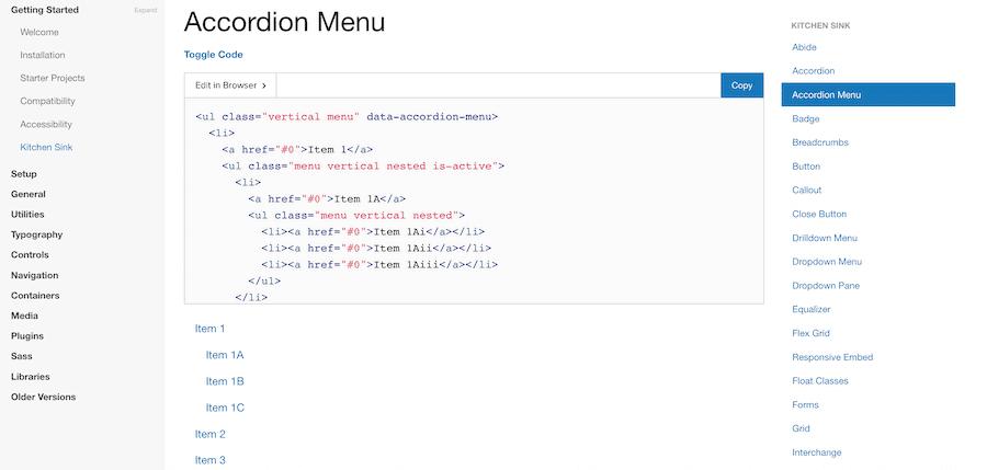 Creating a navigation menu in Foundation.