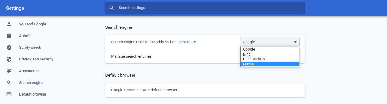 Selezione del motore di ricerca utilizzati nella barra degli indirizzi.