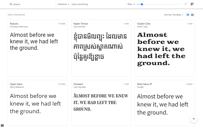 Google Fonts Catalog.