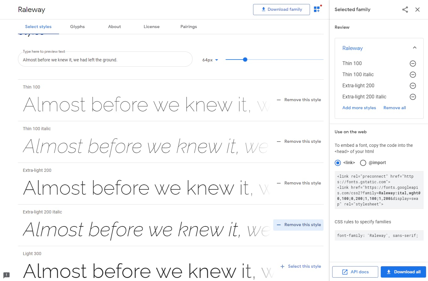 Choose a font in Google Fonts.