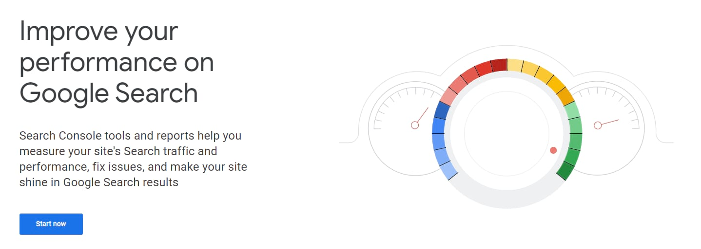 The homepage of Google Search Console.