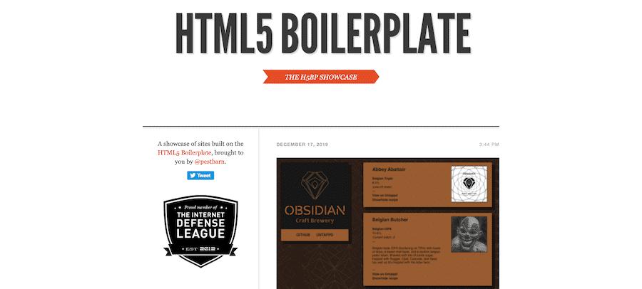 The HTML5 Boilerplate homepage.