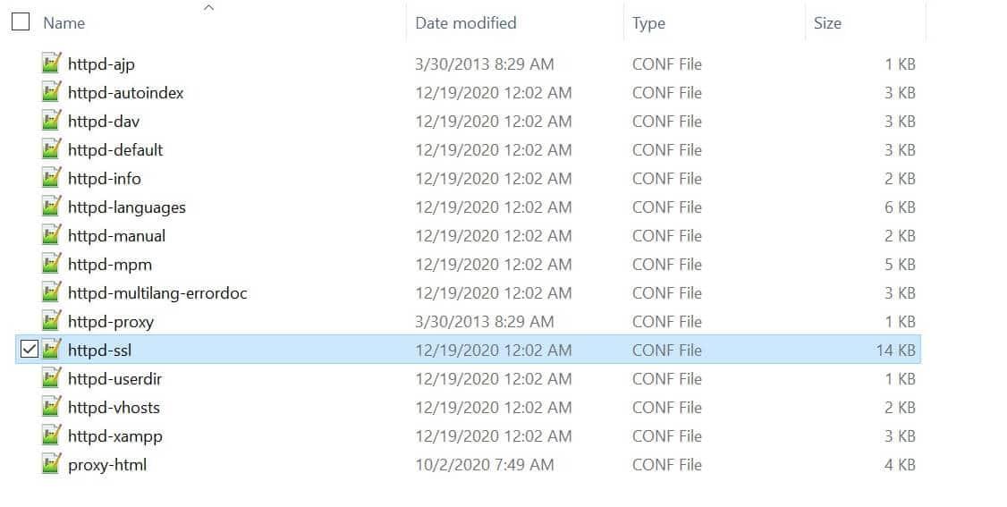 O arquivo httpd-ssl.conf.