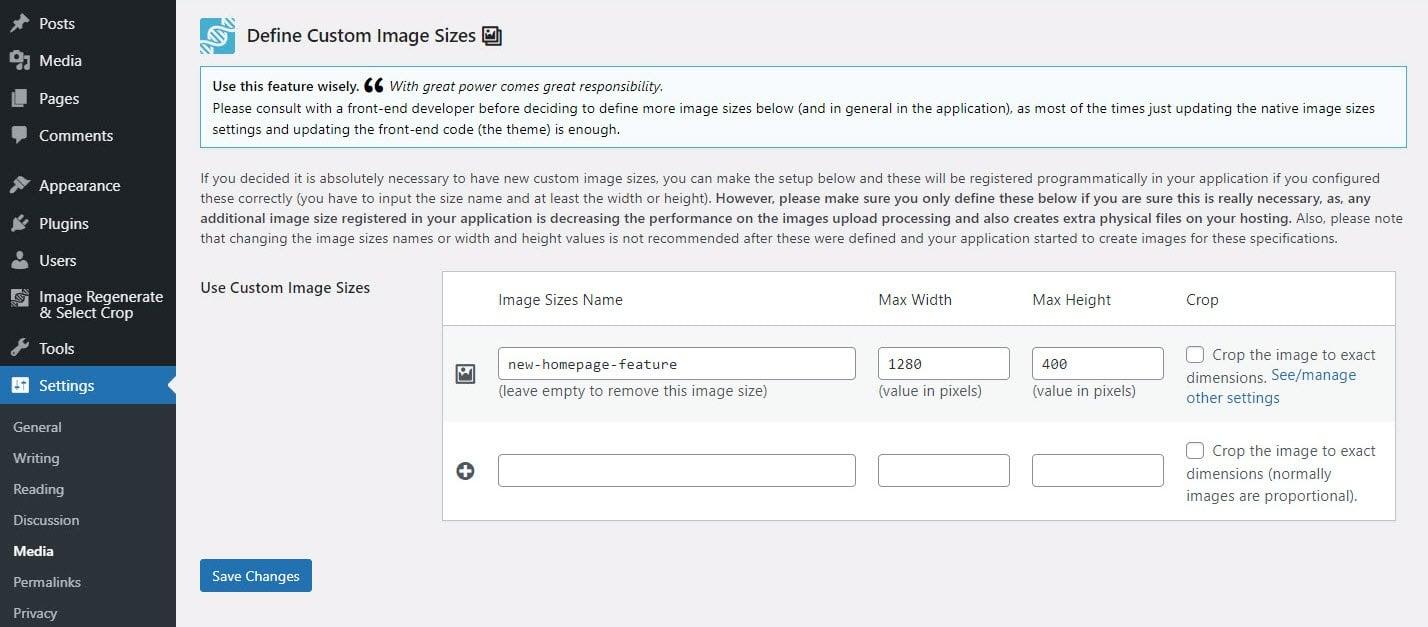 Opções de tamanho de imagem personalizadas através do plugin Image Regenerate & Select Crop.