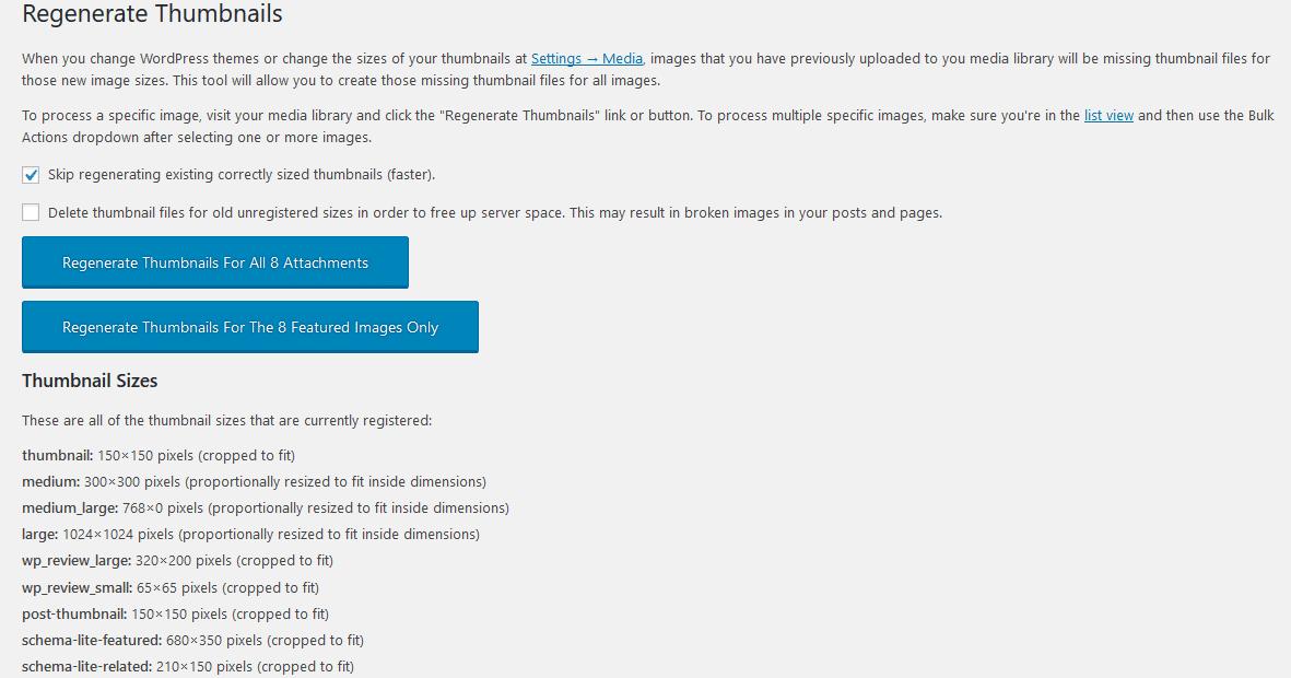 A página de configurações para o plugin Regenerate Thumbnails.