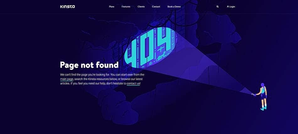 Kinsta's 404 error page.