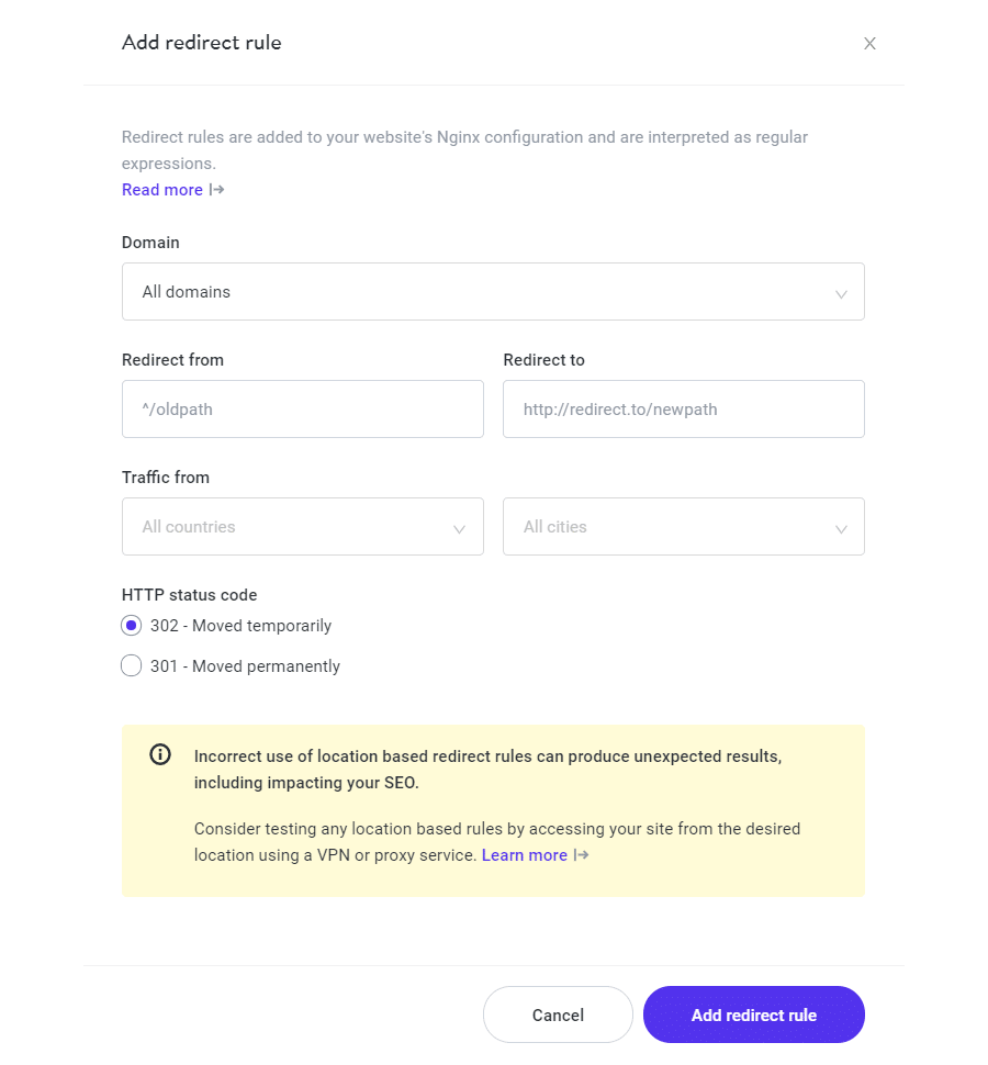 "MyKinsta redirect modal showing ""Traffic from"" fields for geolocation redirect rules."