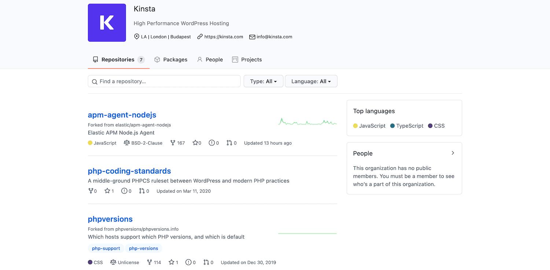 Kinsta's GitHub page.