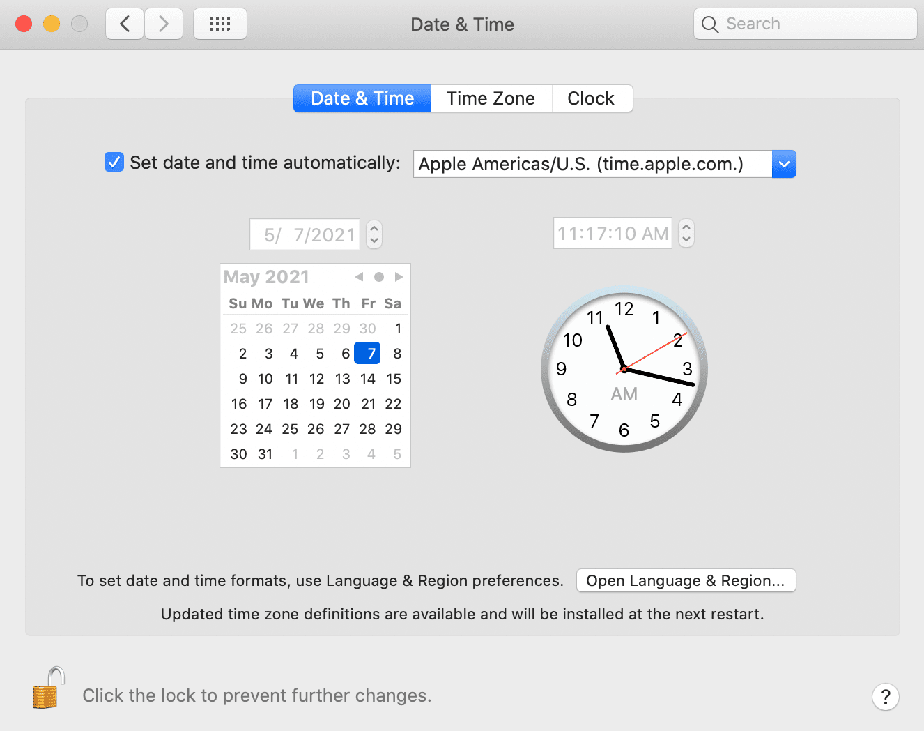 The Date and Time settings for macOS.