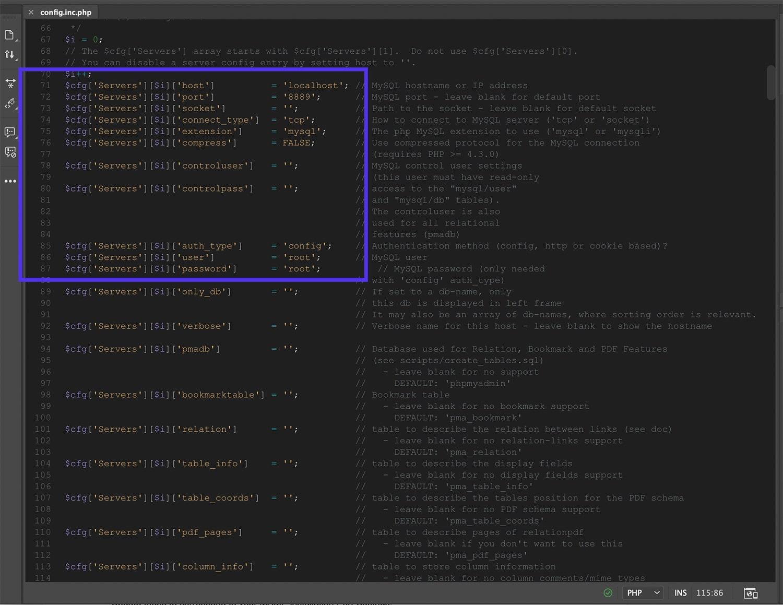 Correzione di errori nel file config.inc.php.