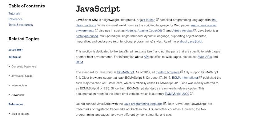 MDN Web Docs JavaScript page.