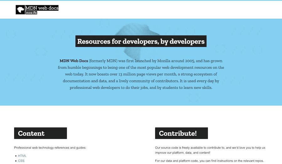 The MDN Web Docs homepage.