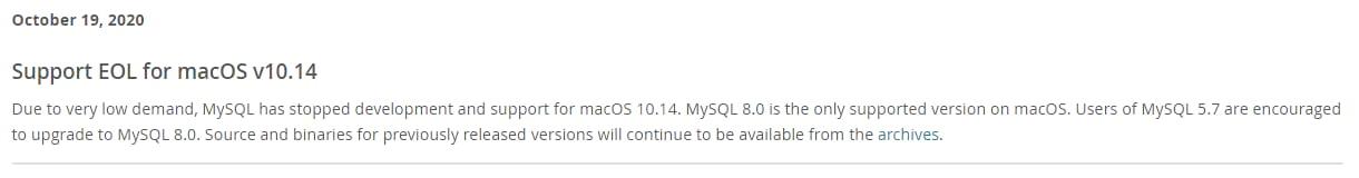 Soporte EOL para macOS v10.14