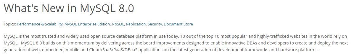 Novedades de MySQL 8.0.