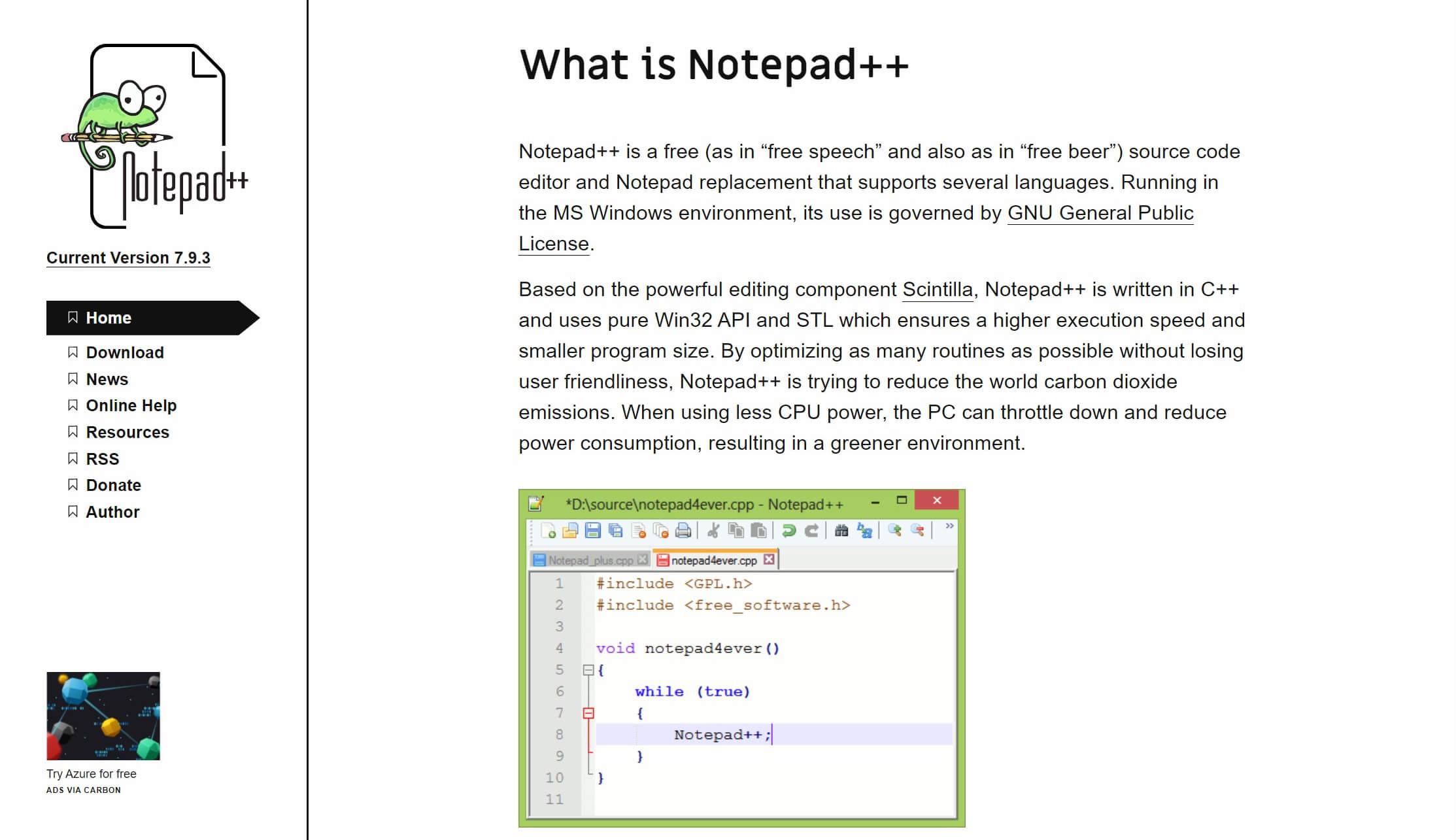 O editor de texto Notepad++ para Windows.