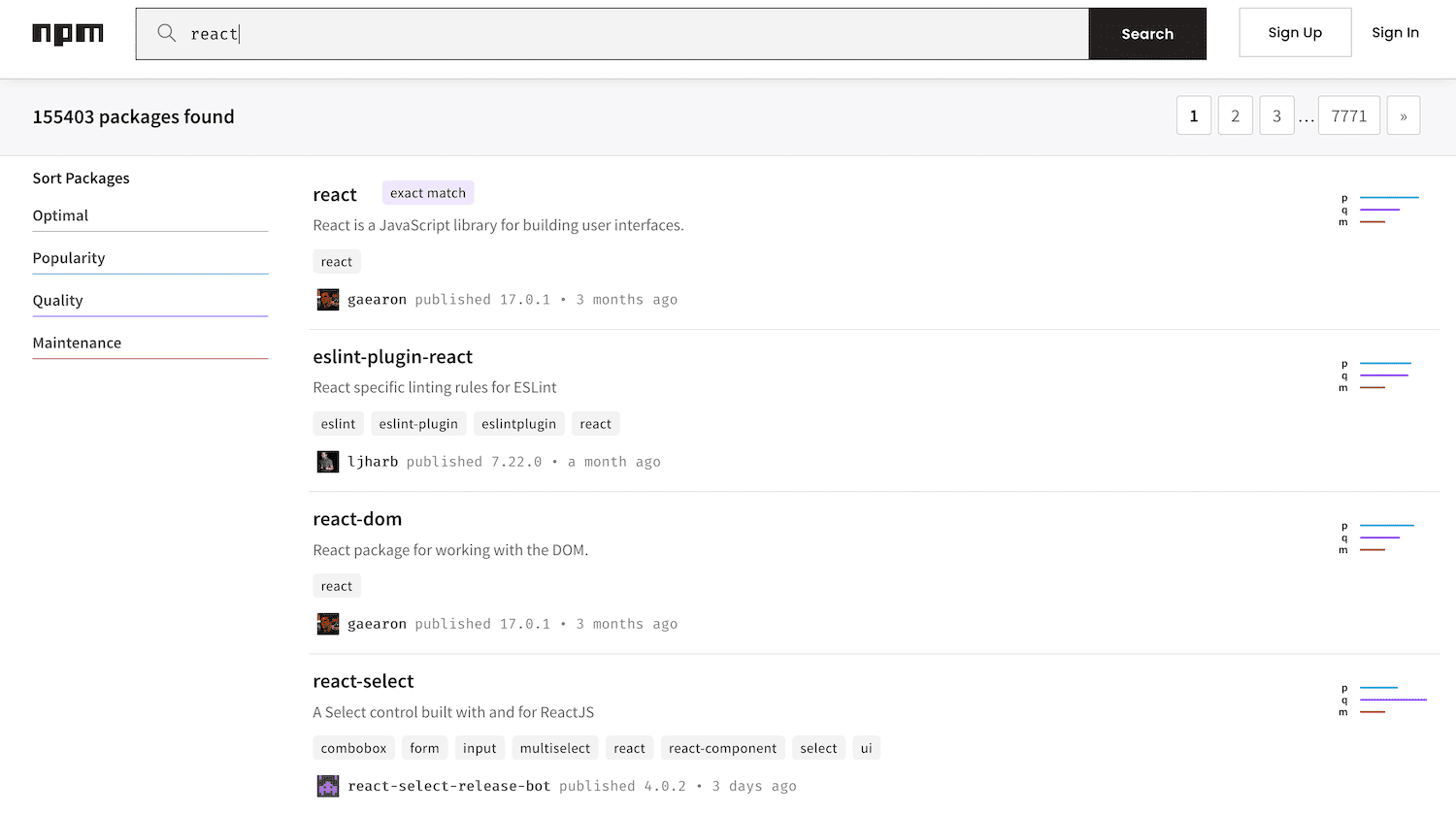 A search performed within npm.