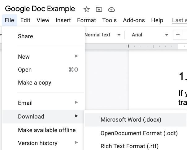 Google Doc als Word-Dokument herunterladen.