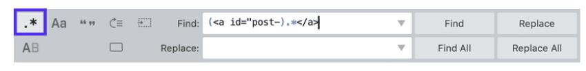 Suchen und Ersetzen Funktion im Sublime Text Editor.