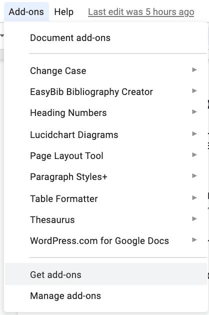Hol dir Add-ons für Google Docs.