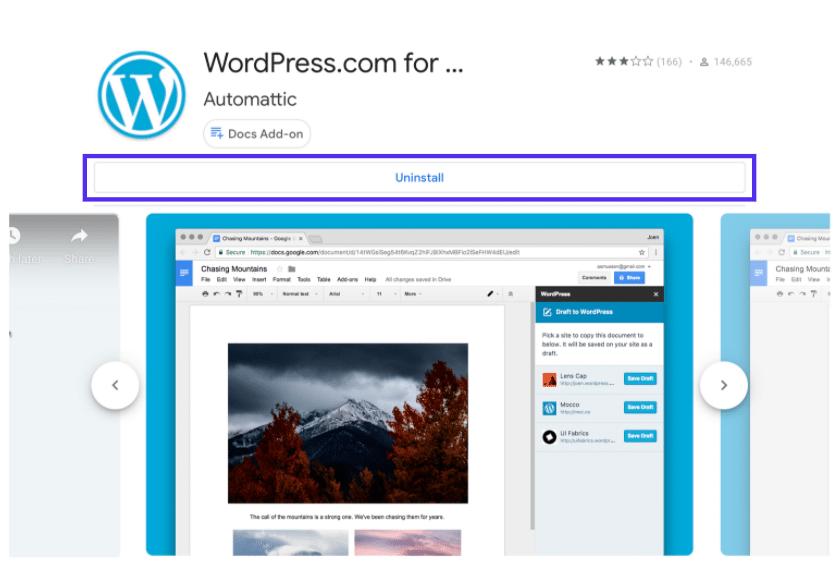WordPress.com für Google Docs im Google Workspace Marketplace.