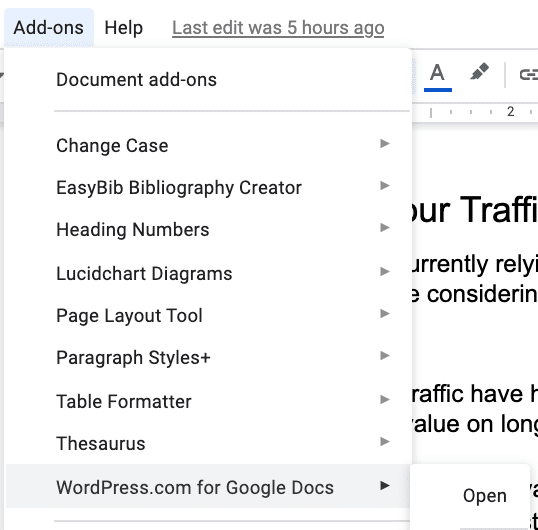WordPress.com für Google Docs in Add-ons.