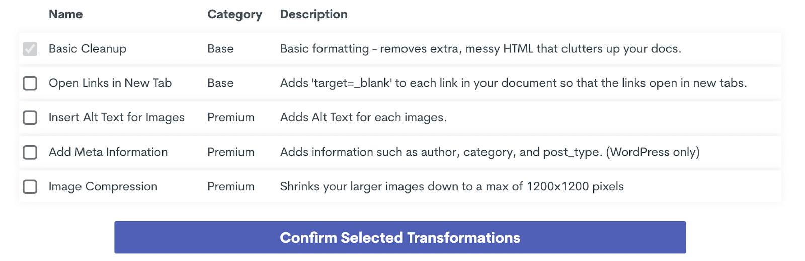 Ein-Klick-Transformationen auf Wordable