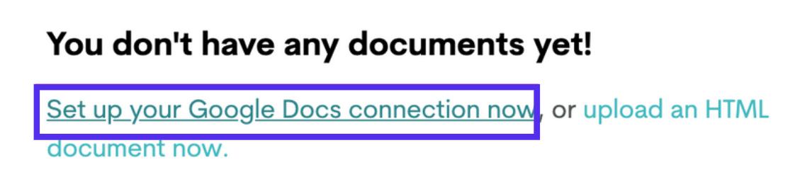 Richte die Google Docs Verbindung auf Wordable ein.