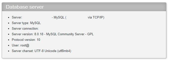 Ver la versión de MySQL en phpMyAdmin