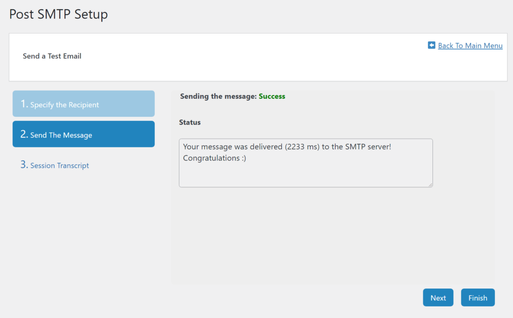 The success message in Post SMTP
