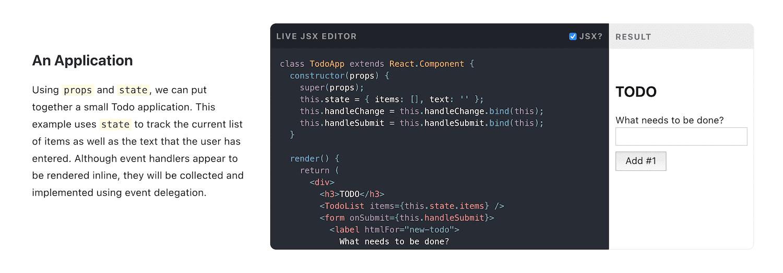 An example of React sandbox code.