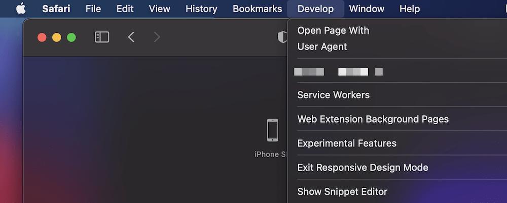 """Die Möglichkeit, den """"Responsive Design Modus zu beenden"""" in Safari."""