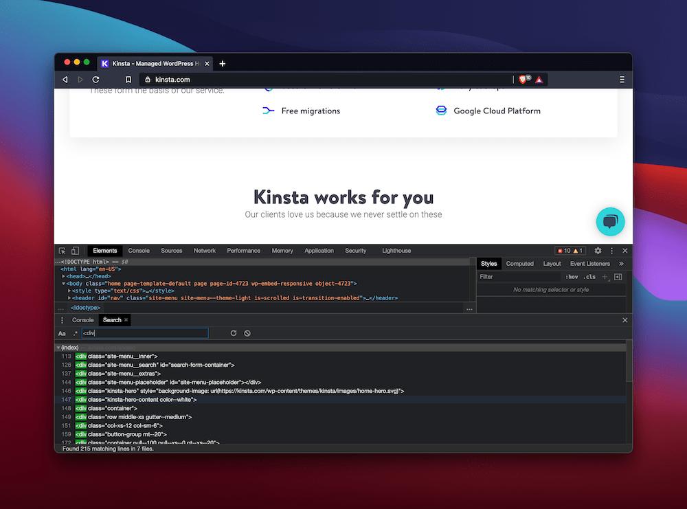 Suche nach Elementen in den DevTools von Brave.