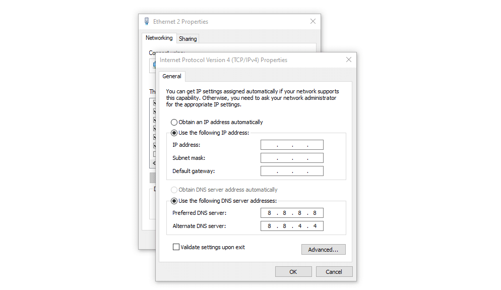 Setting a static IP in Windows.