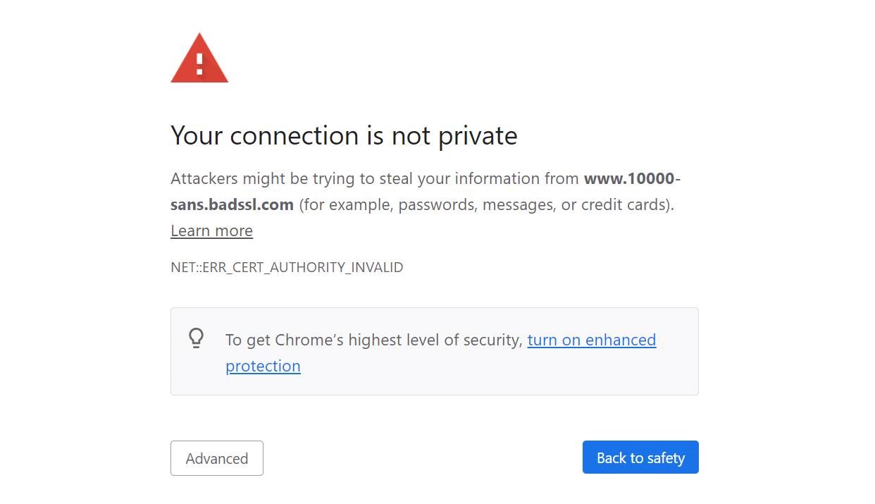 An SSL connection error in Chrome.