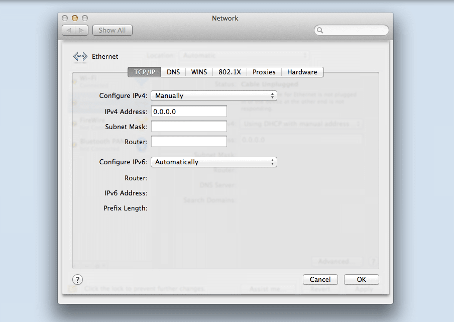 Setting up a static IP address on macOS.