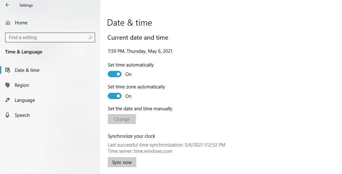 Syncing time in Windows.