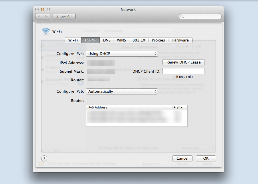 Finding your IP address on macOS.