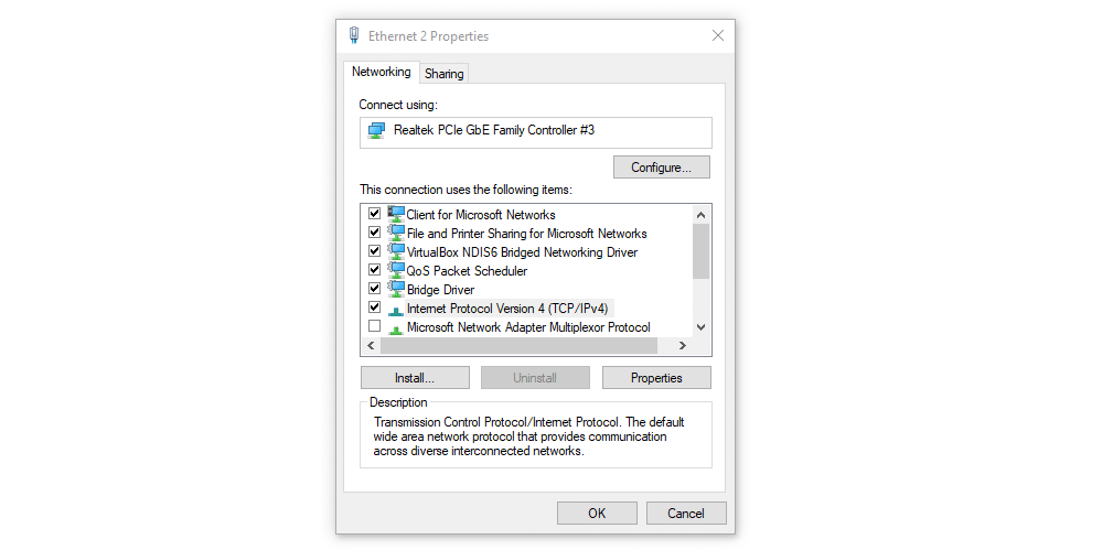 Accessing your IPv4 settings in Windows.