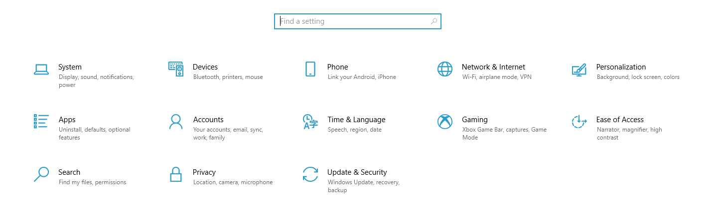 Accessing Window's time and language settings.