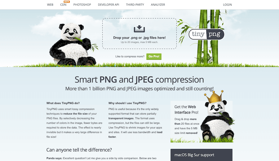The TinyPNG website.