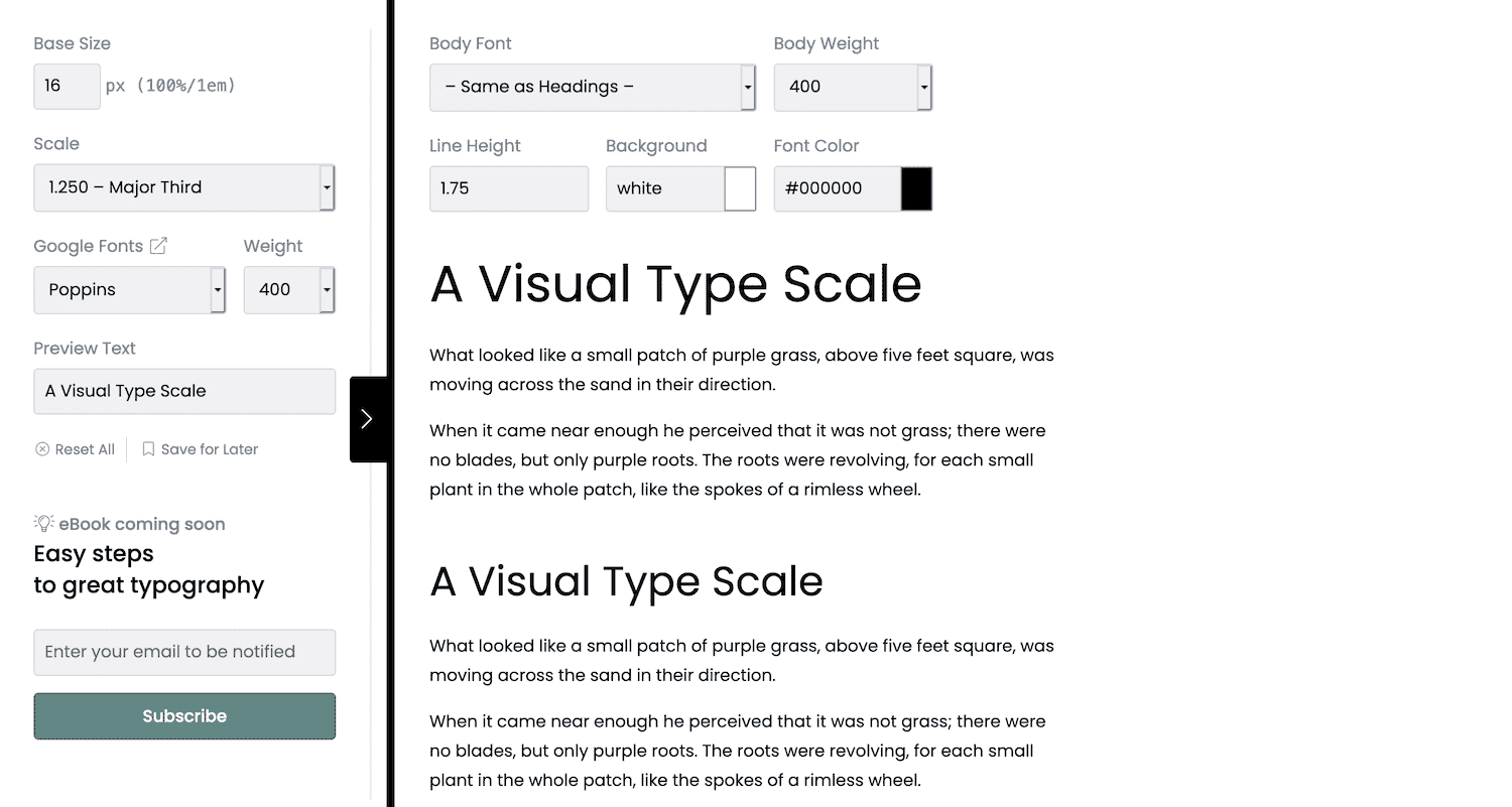 The Type Scale website.