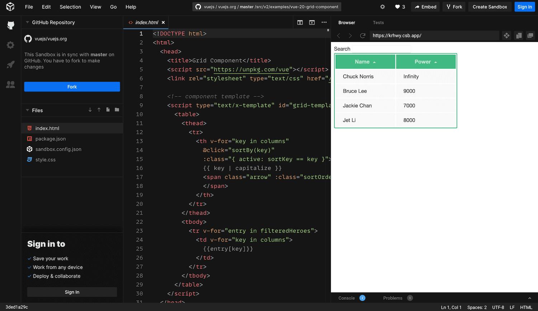 The Vue.js sandbox.